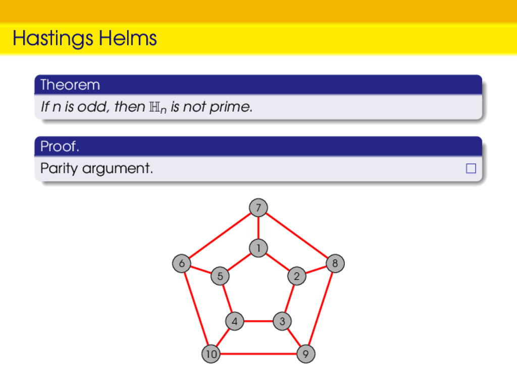 Hastings Helms Theorem If n is odd, then Hn is ...