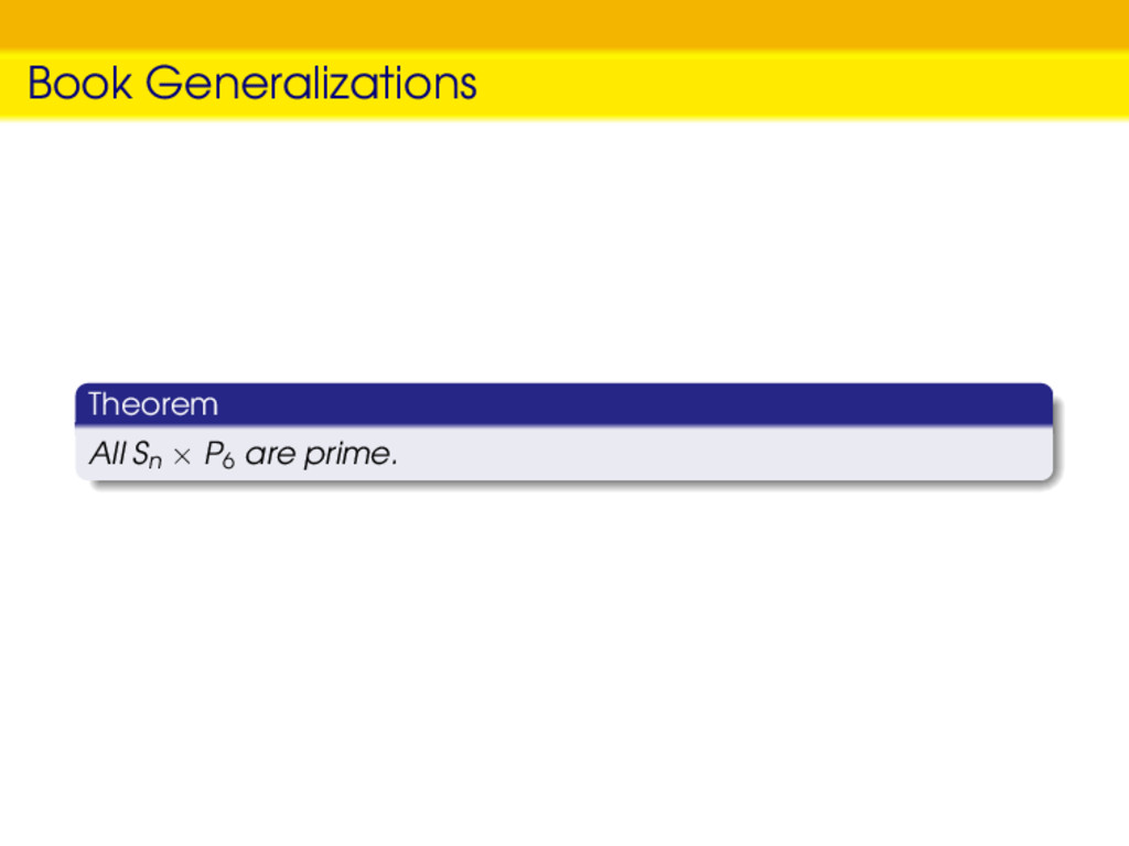 Book Generalizations Theorem All Sn × P6 are pr...