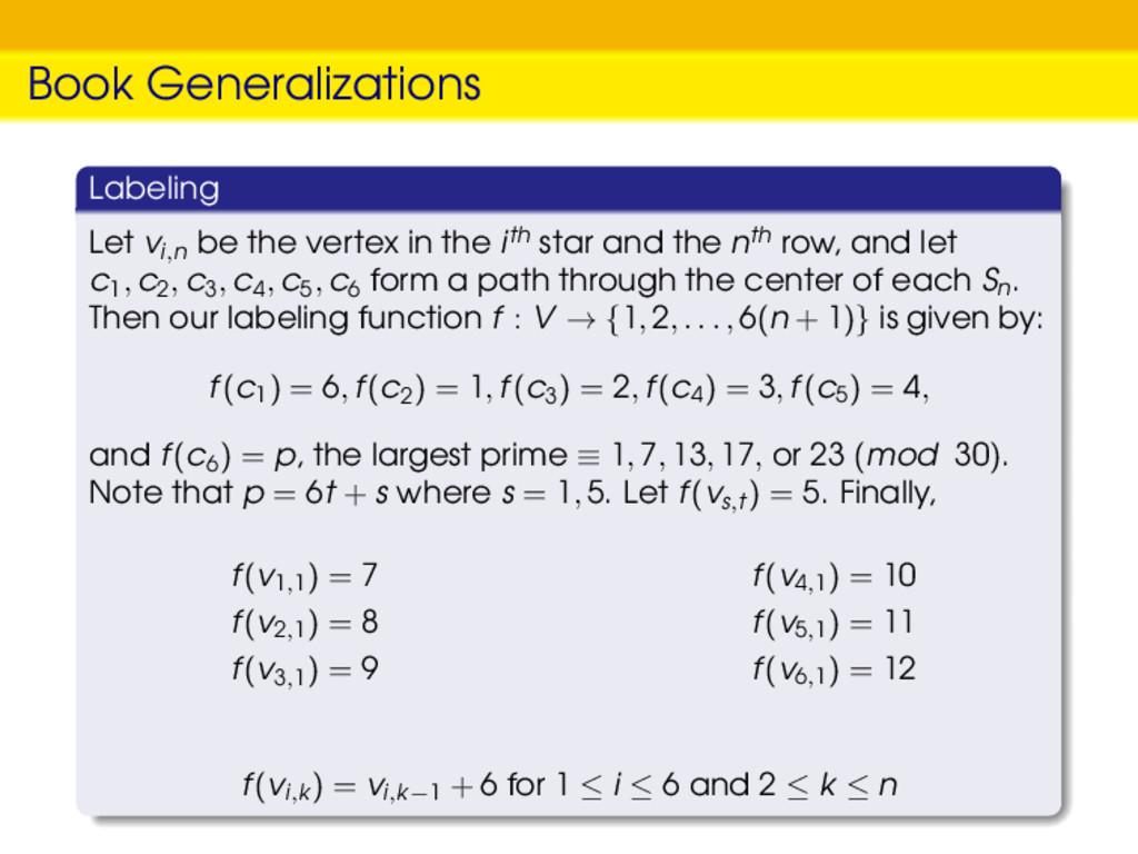 Book Generalizations Labeling Let vi,n be the v...