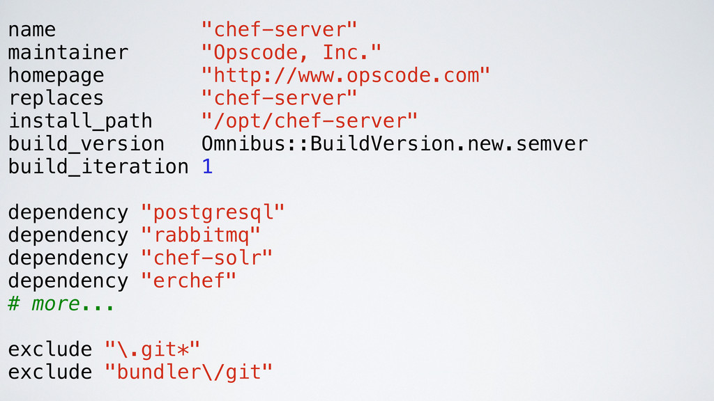 "name ""chef-server"" maintainer ""Opscode, Inc."" h..."