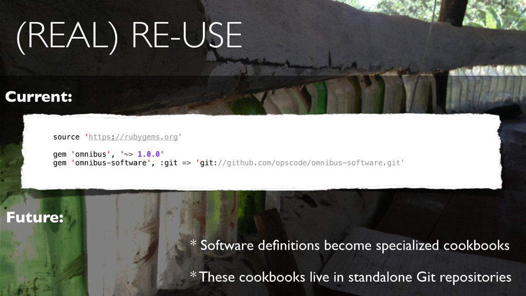 (REAL) RE-USE • * Software definitions become sp...