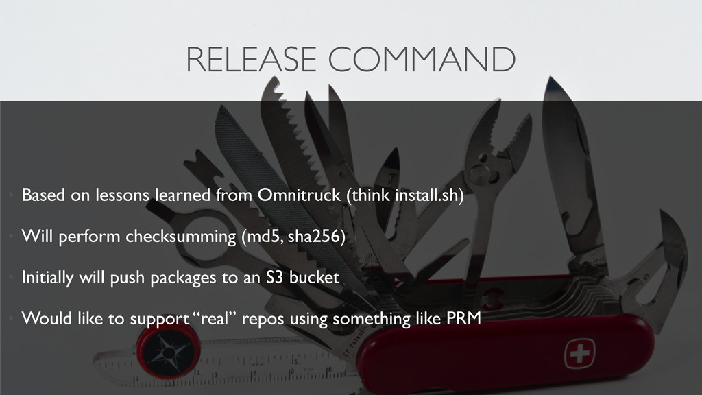 RELEASE COMMAND • Based on lessons learned from...