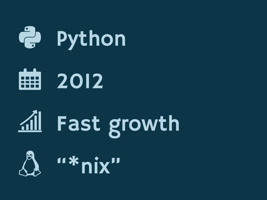 """Python 2012 Fast growth """"*nix"""""""