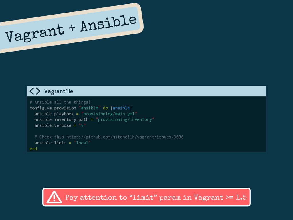 Vagrant + Ansible # Ansible all the things! con...