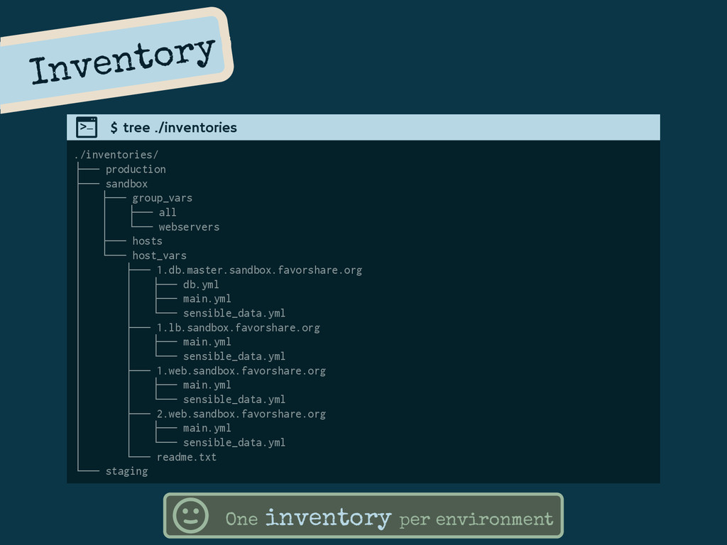 Inventory ./inventories/ ├── production ├── san...