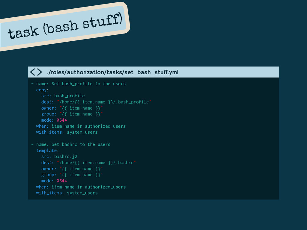 task (bash stuff) - name: Set bash_profile to t...
