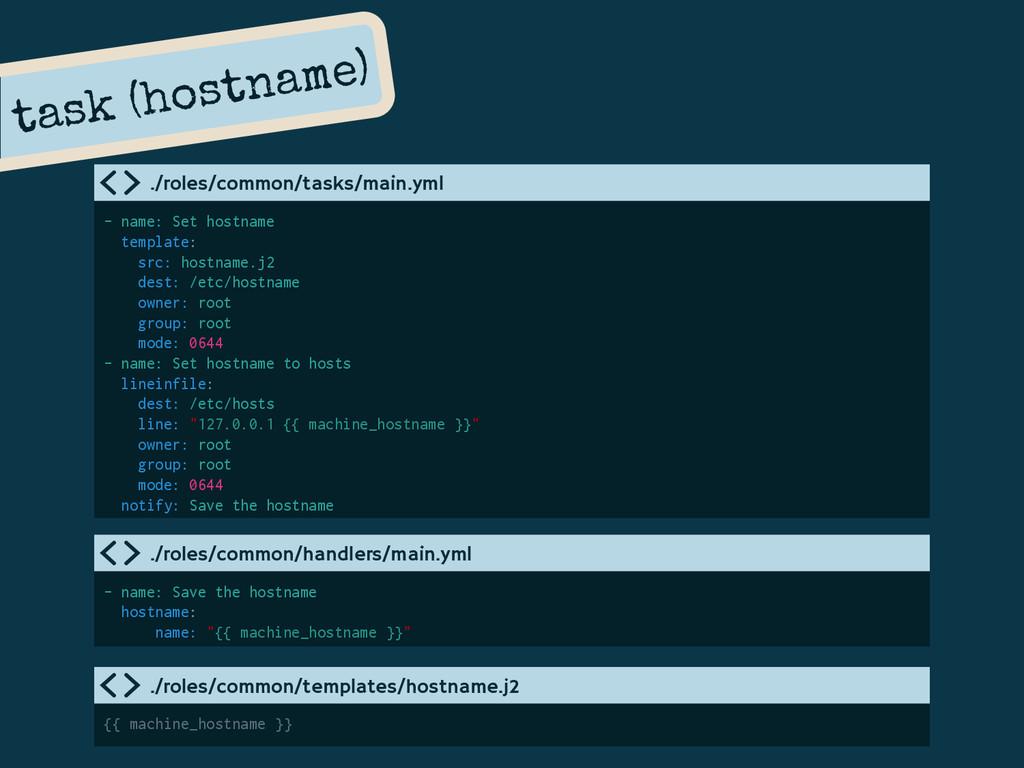 task (hostname) - name: Set hostname template: ...