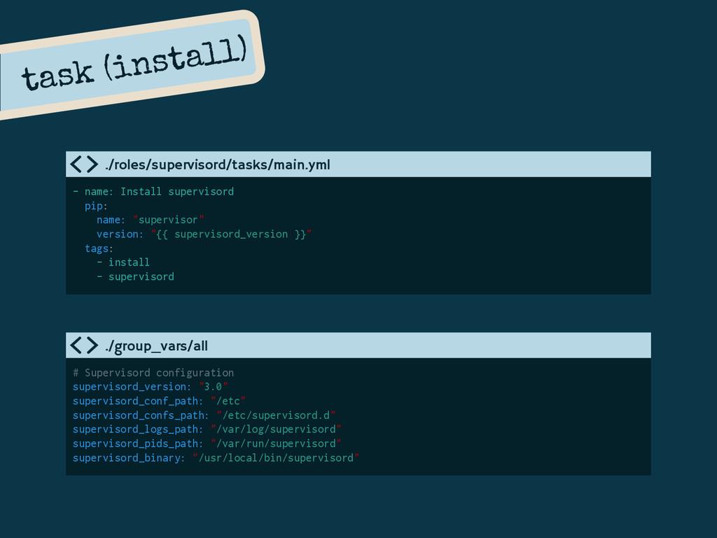 task (install) - name: Install supervisord pip:...