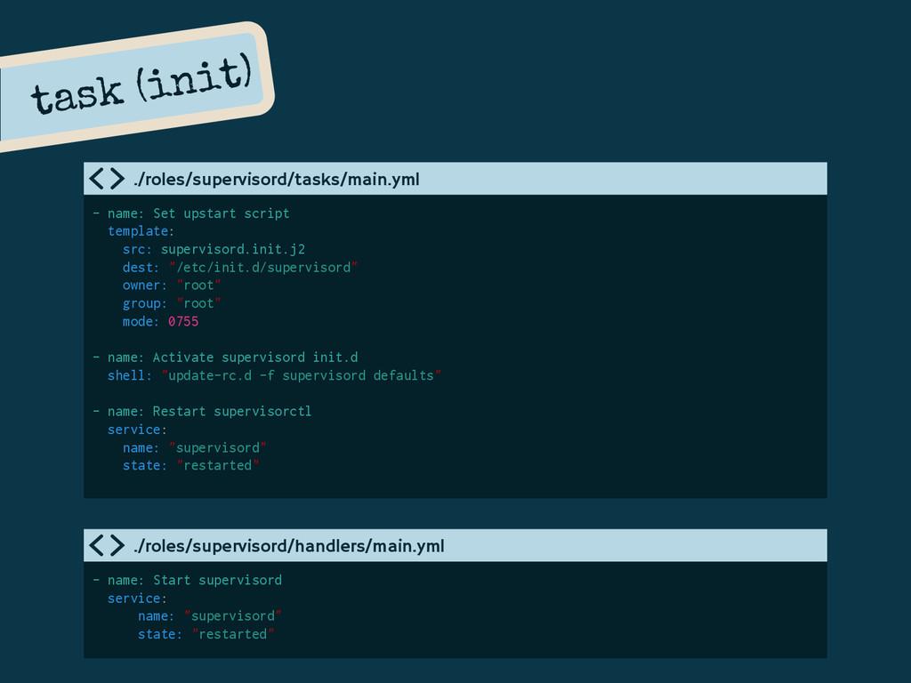 task (init) - name: Set upstart script template...