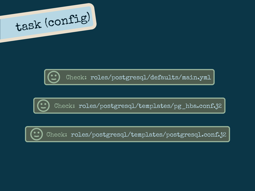 task (config) Check: roles/postgresql/defaults/...