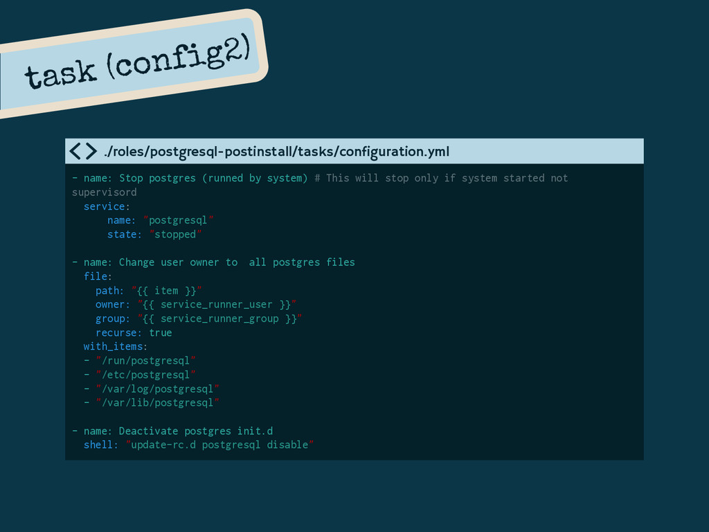 - name: Stop postgres (runned by system) # This...