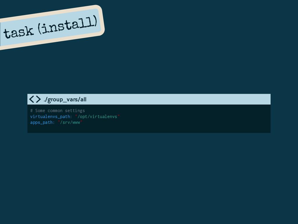 task (install) # Some common settings virtualen...