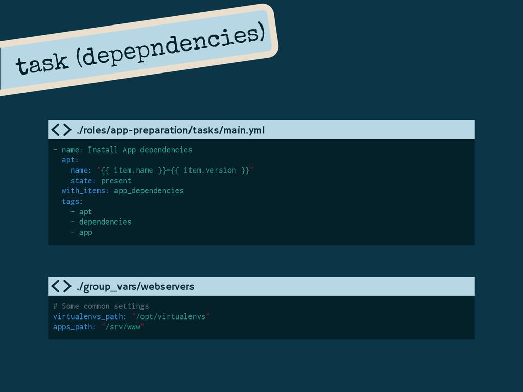 task (depepndencies) - name: Install App depend...