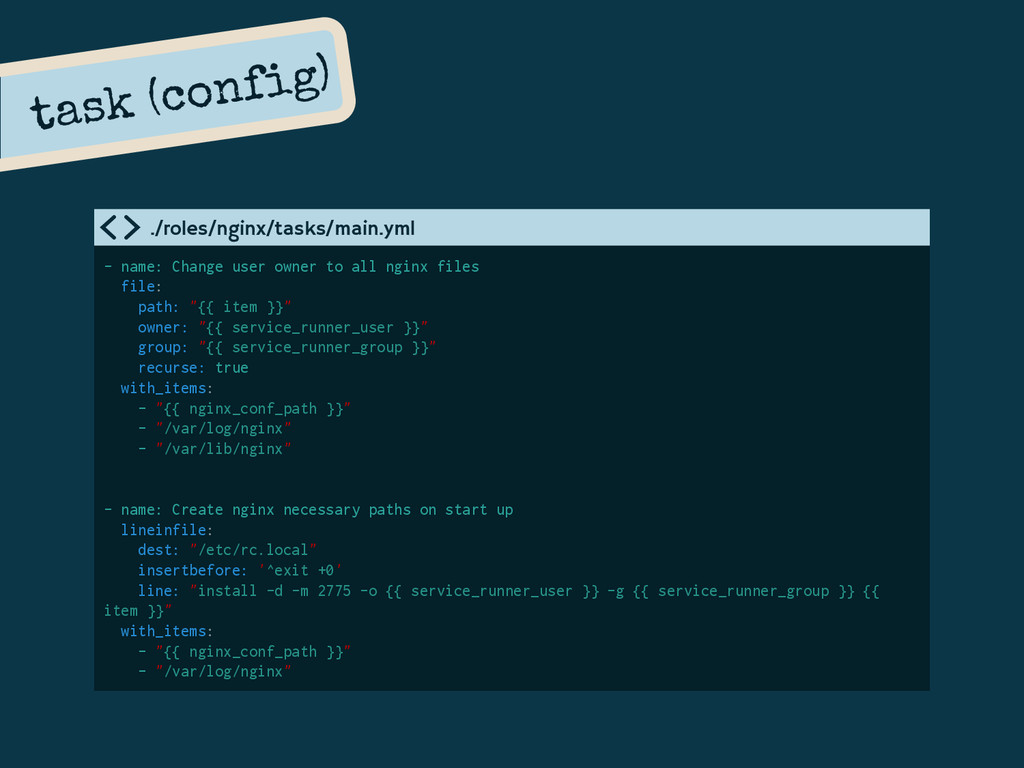task (config) - name: Change user owner to all ...