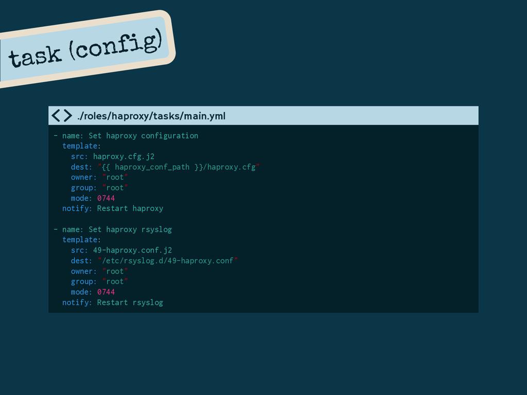 task (config) - name: Set haproxy configuration...