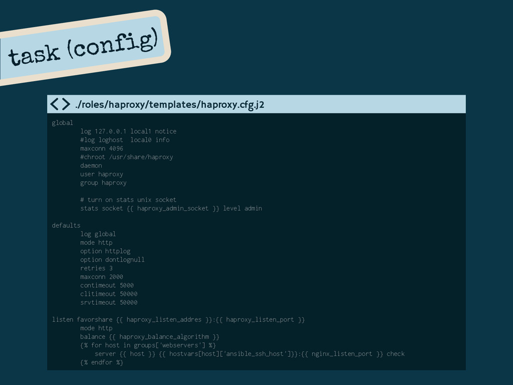 global log 127.0.0.1 local1 notice #log loghost...