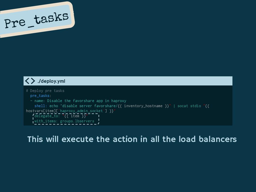 Pre_tasks # Deploy pre tasks pre_tasks: - name:...