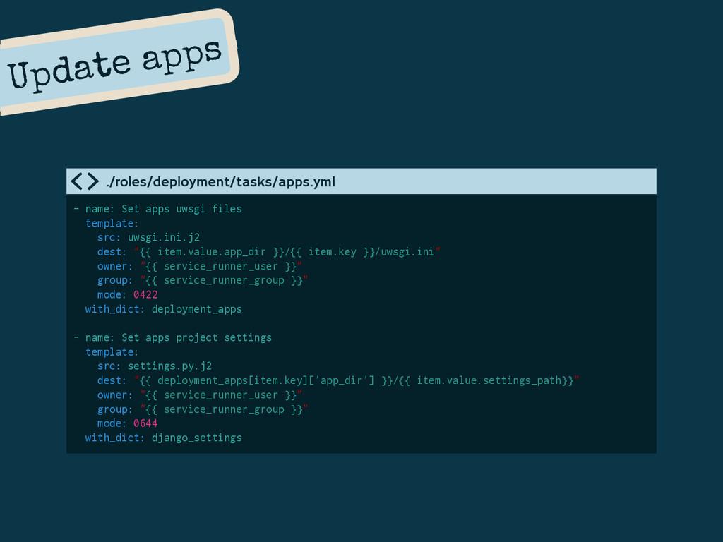 Update apps - name: Set apps uwsgi files templa...