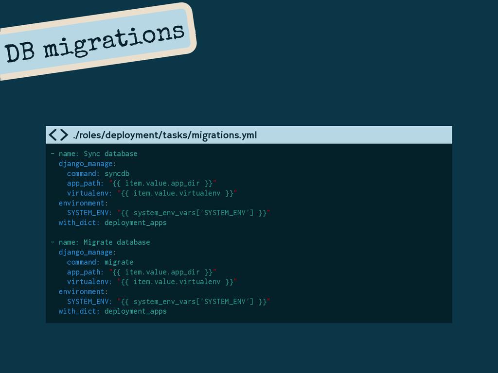 DB migrations - name: Sync database django_mana...