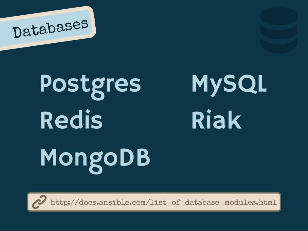 Databases Postgres Redis MongoDB http://docs.an...