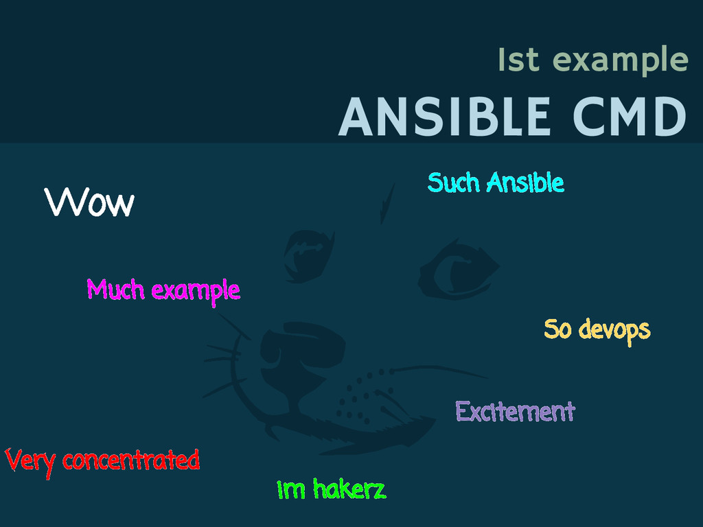 1st example ANSIBLE CMD Wow Such Ansible Much e...