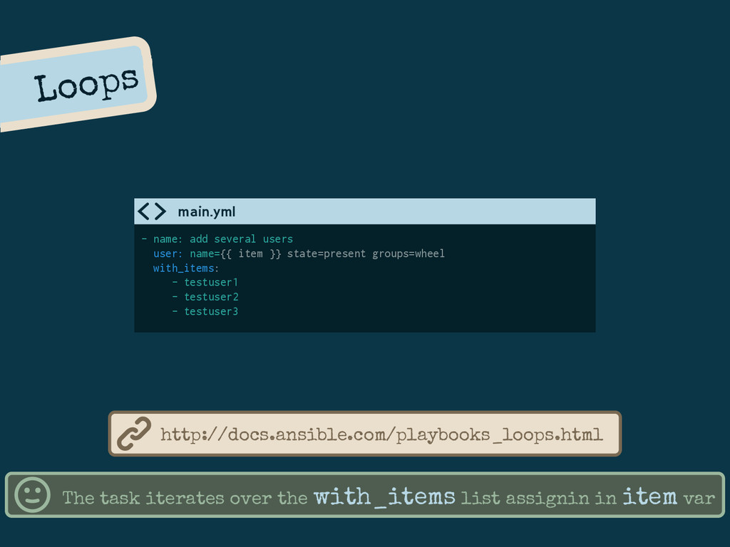 Loops The task iterates over the with_items lis...