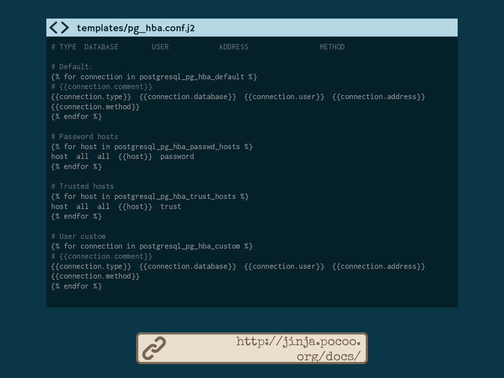 http://jinja.pocoo. org/docs/ # TYPE DATABASE U...