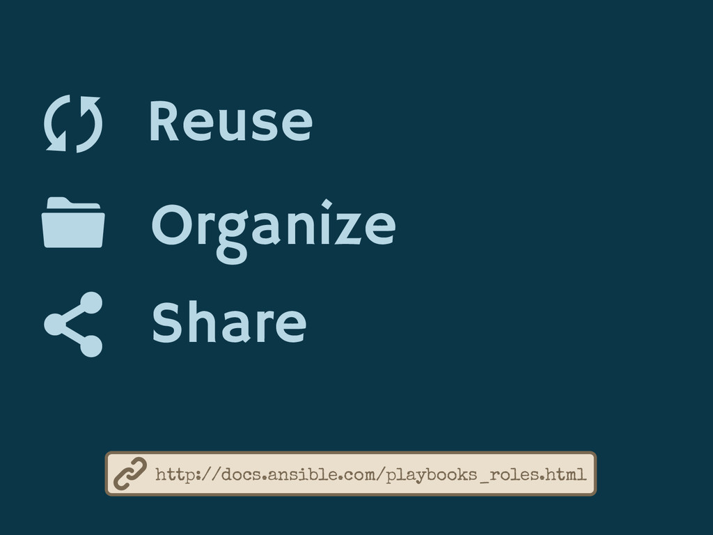 Reuse Organize Share http://docs.ansible.com/pl...