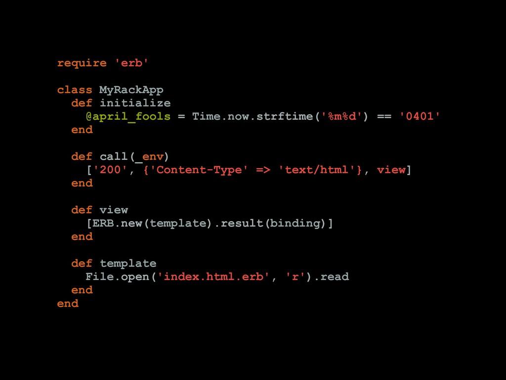 require 'erb' class MyRackApp def initialize @a...