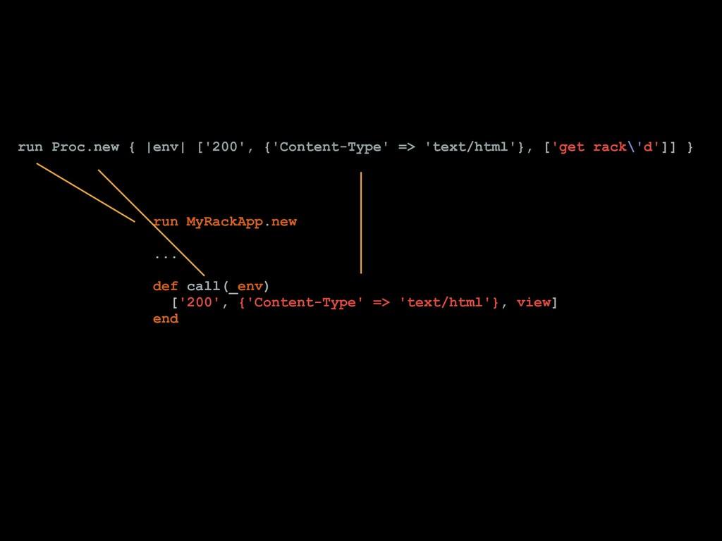 run Proc.new { |env| ['200', {'Content-Type' =>...