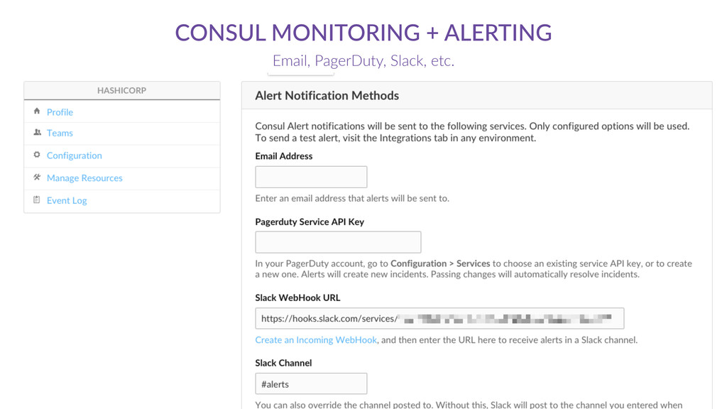 CONSUL  MONITORING  +  ALERTING Email,  PagerDu...