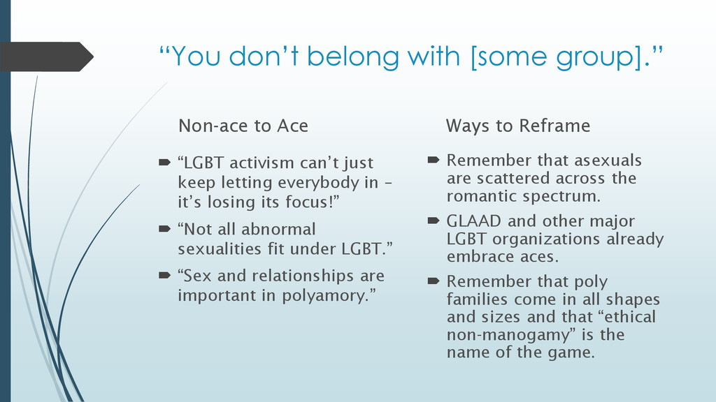 "Non-ace to Ace  ""LGBT activism can't just keep..."