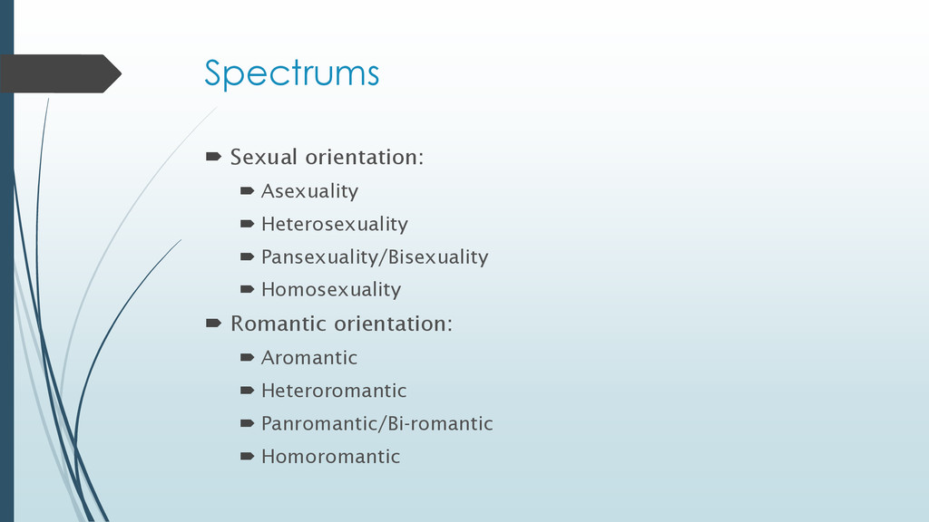 Spectrums  Sexual orientation:  Asexuality  ...