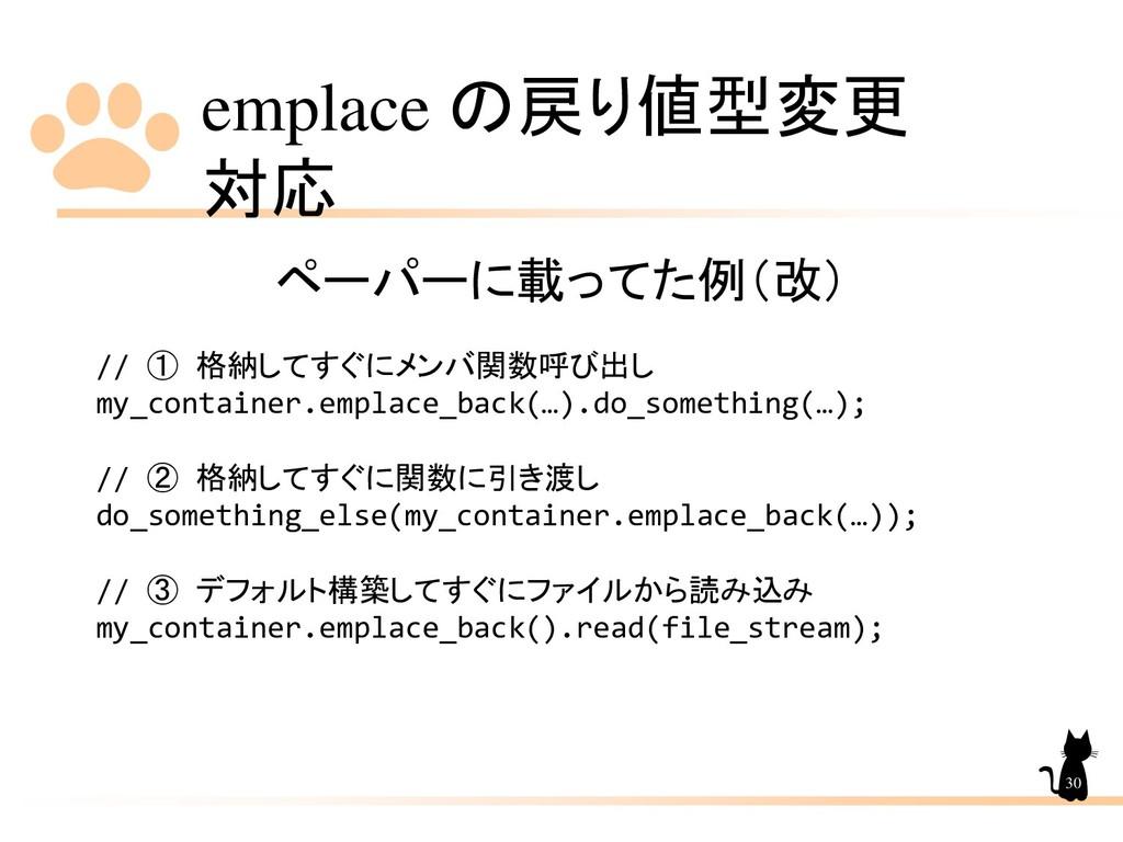 emplace の戻り値型変更 対応 30 ペーパーに載ってた例(改) // ① 格納してすぐ...