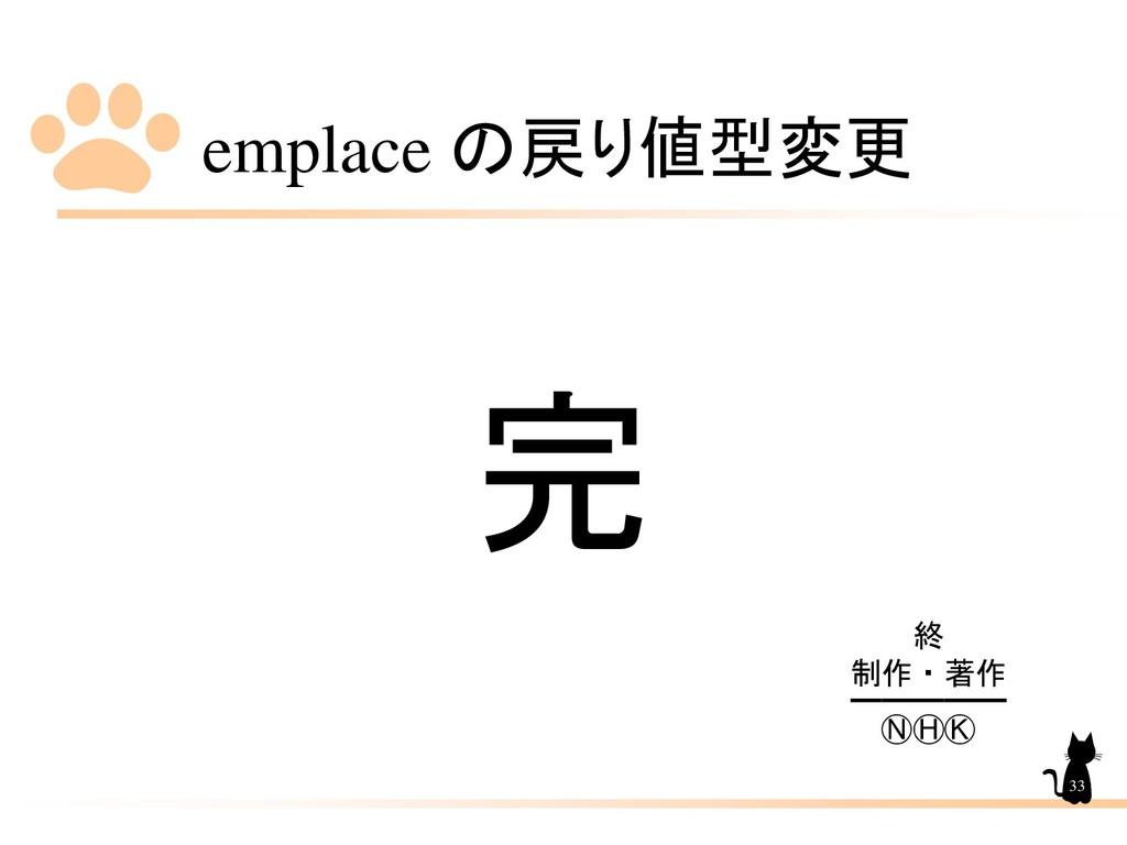 emplace の戻り値型変更 33 完 終 制作・著作 ━━━━━ ⓃⒽⓀ