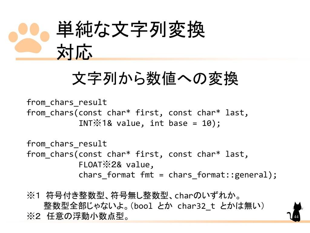 単純な文字列変換 対応 44 文字列から数値への変換 from_chars_result fr...