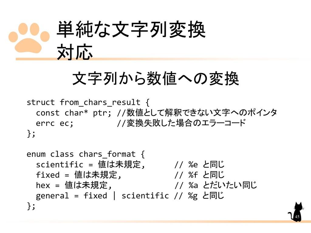 単純な文字列変換 対応 45 文字列から数値への変換 struct from_chars_re...