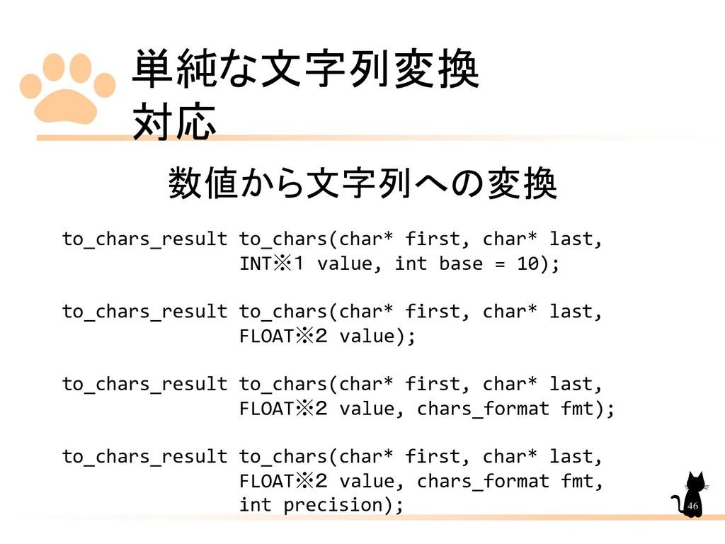 単純な文字列変換 対応 46 数値から文字列への変換 to_chars_result to_c...