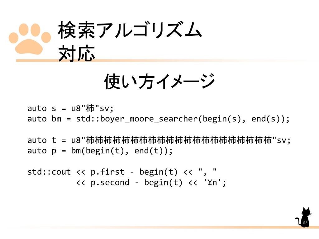 """検索アルゴリズム 対応 87 使い方イメージ auto s = u8""""柿""""sv; auto b..."""