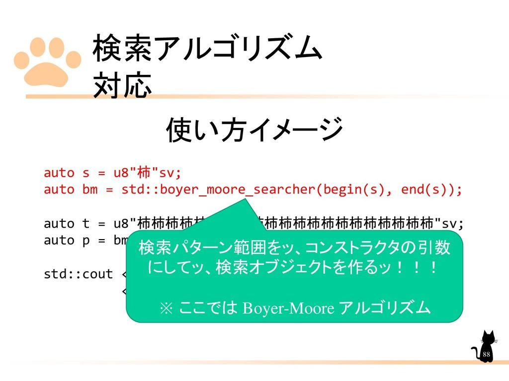 """検索アルゴリズム 対応 88 使い方イメージ auto s = u8""""柿""""sv; auto b..."""