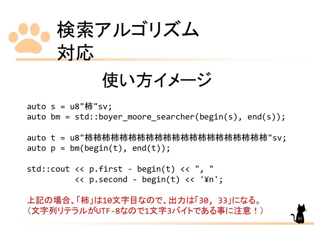 """検索アルゴリズム 対応 91 使い方イメージ auto s = u8""""柿""""sv; auto b..."""