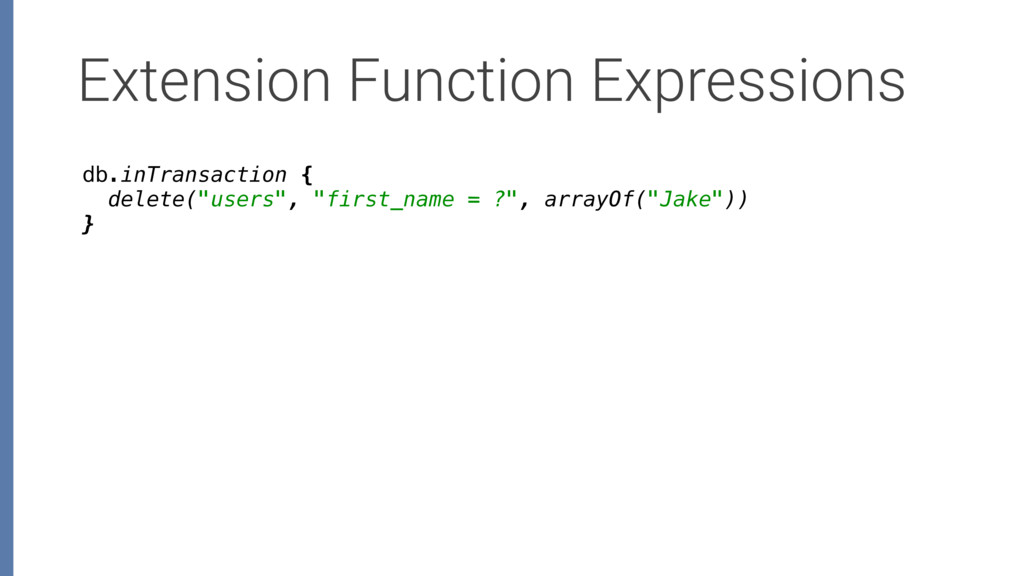 Extension Function Expressions db.inTransaction...