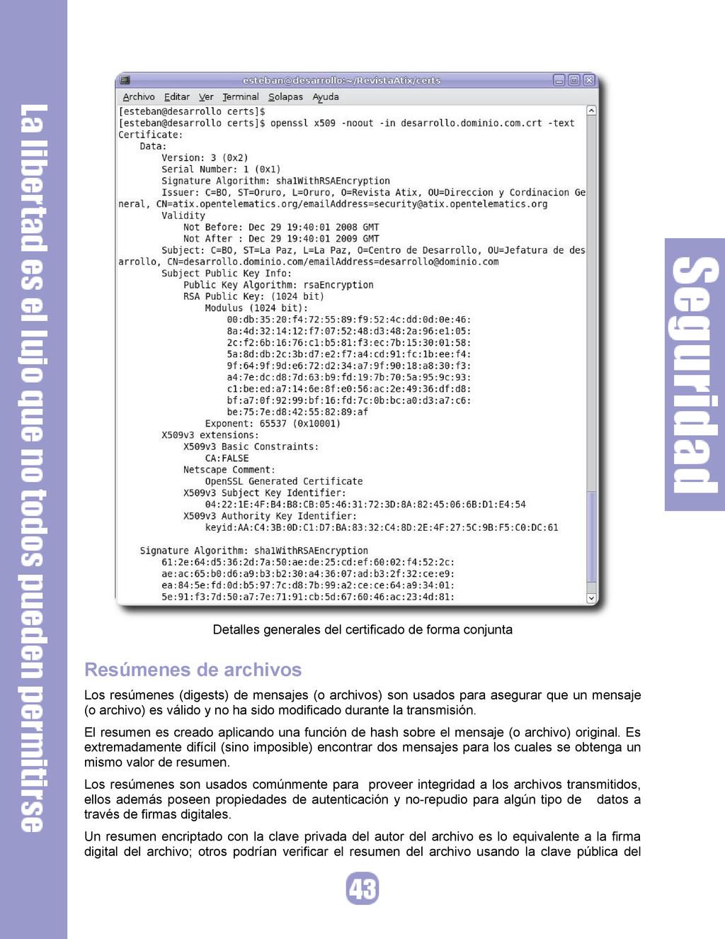 Detalles generales del certificado de forma con...