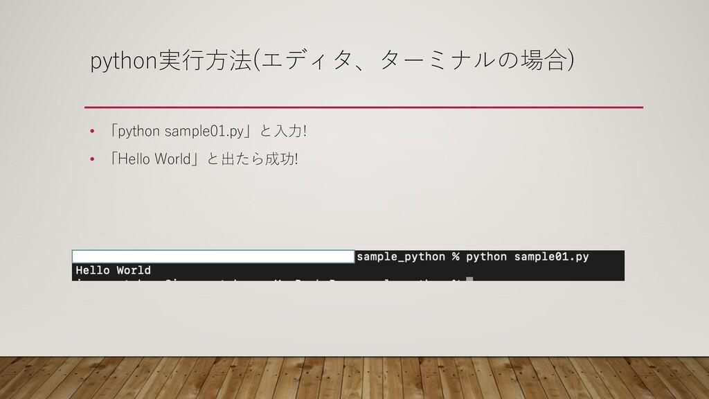 python実⾏⽅法(エディタ、ターミナルの場合) • 「python sample01.py...