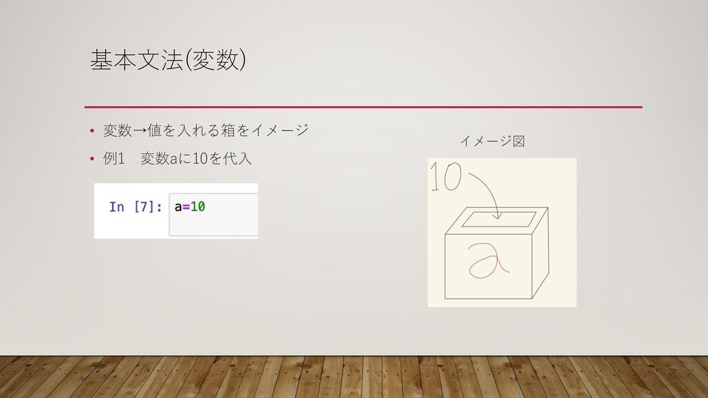 基本⽂法(変数) • 変数→値を⼊れる箱をイメージ • 例1 変数aに10を代⼊ イメージ図