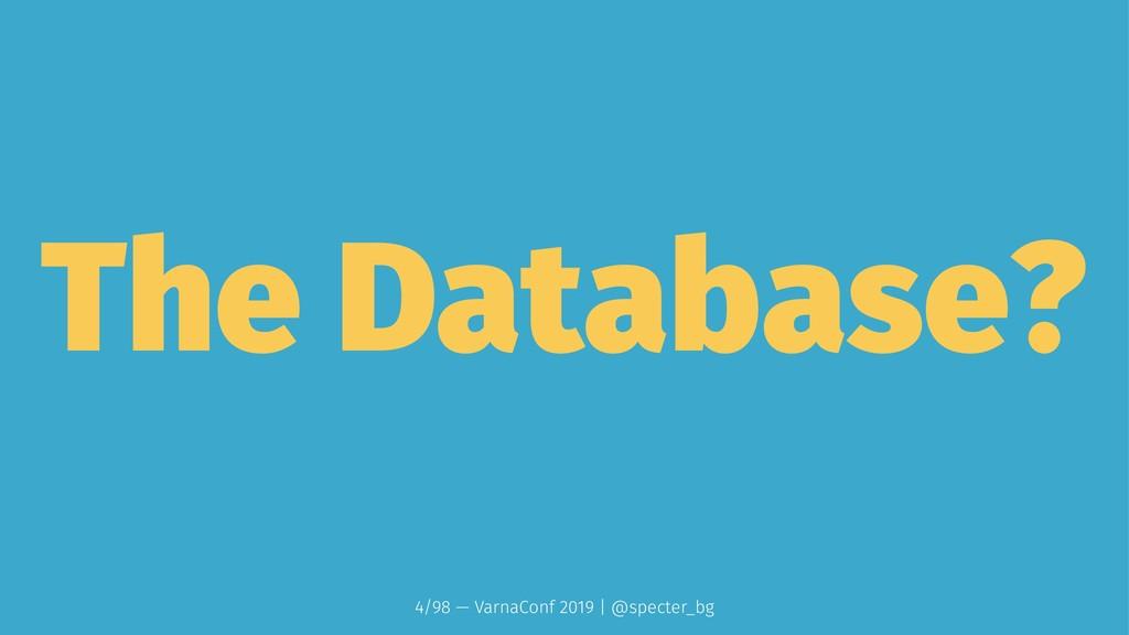 The Database? 4/98 — VarnaConf 2019 | @specter_...