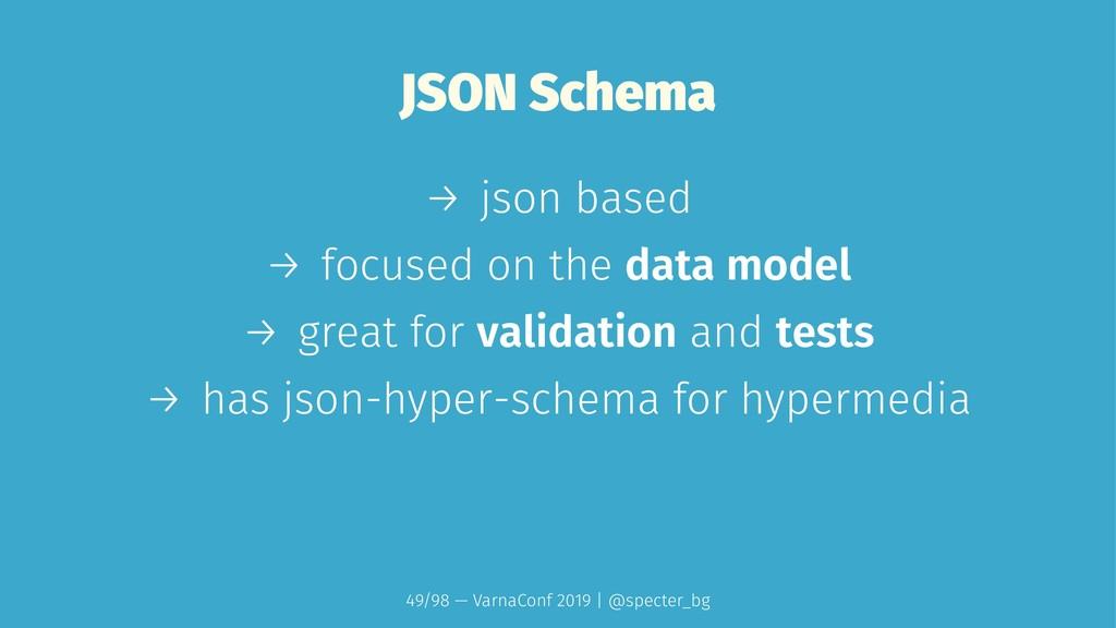 JSON Schema → json based → focused on the data ...