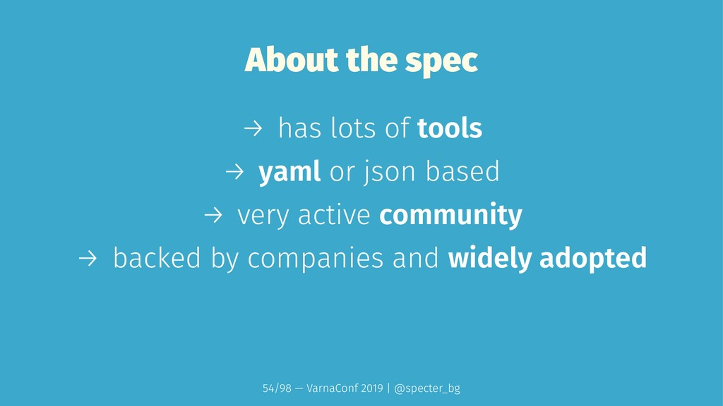 About the spec → has lots of tools → yaml or js...