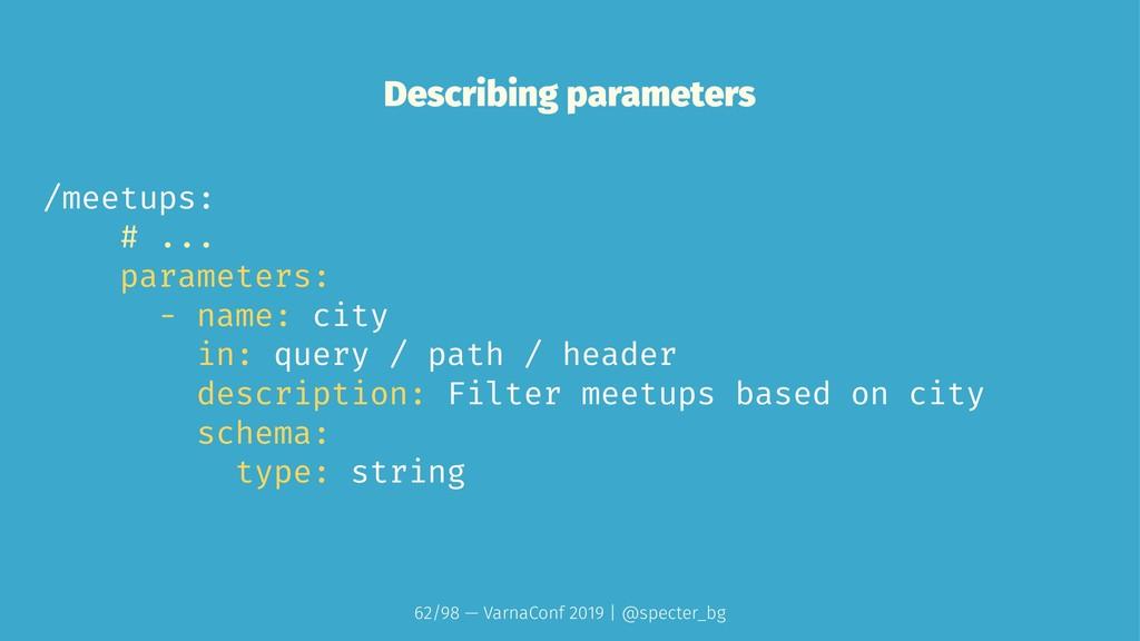 Describing parameters /meetups: # ... parameter...
