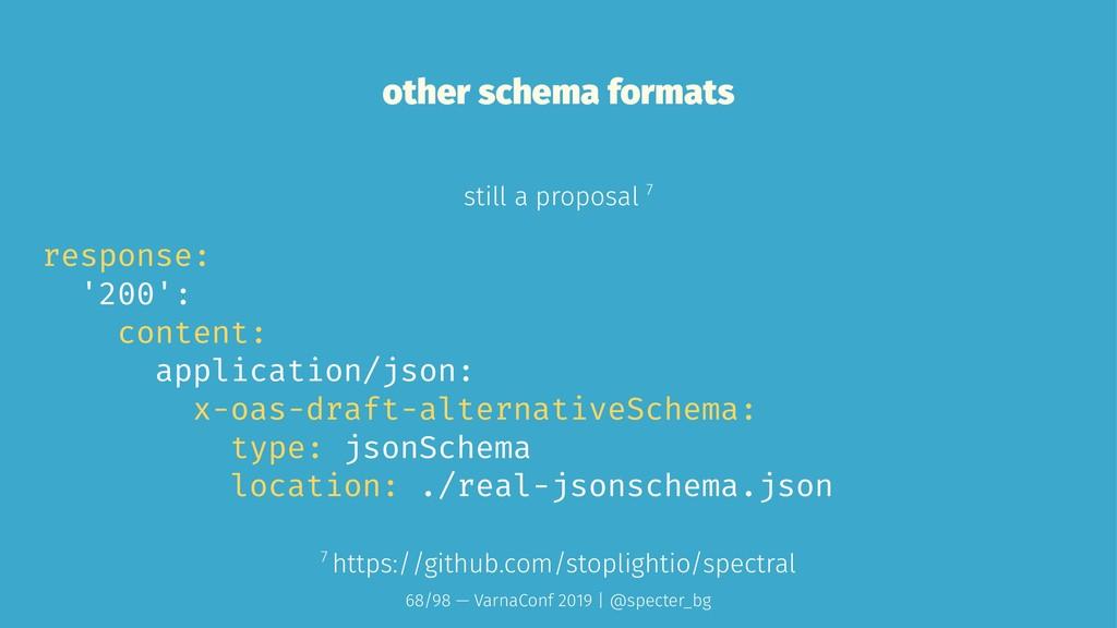 other schema formats still a proposal 7 respons...